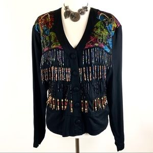 Surya vintage floral beaded  blazer